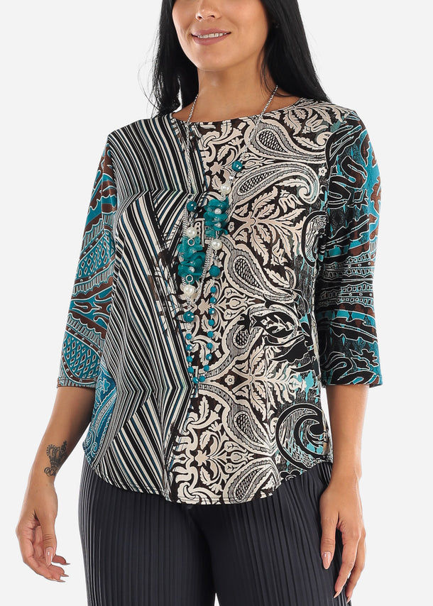 Teal Printed Blouse W Necklace
