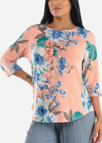 Mauve Floral Blouse W Necklace