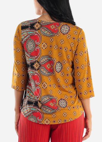Mustard Printed Blouse W Necklace