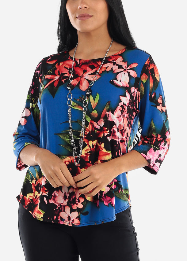 Floral Multicolor Blouse W Necklace