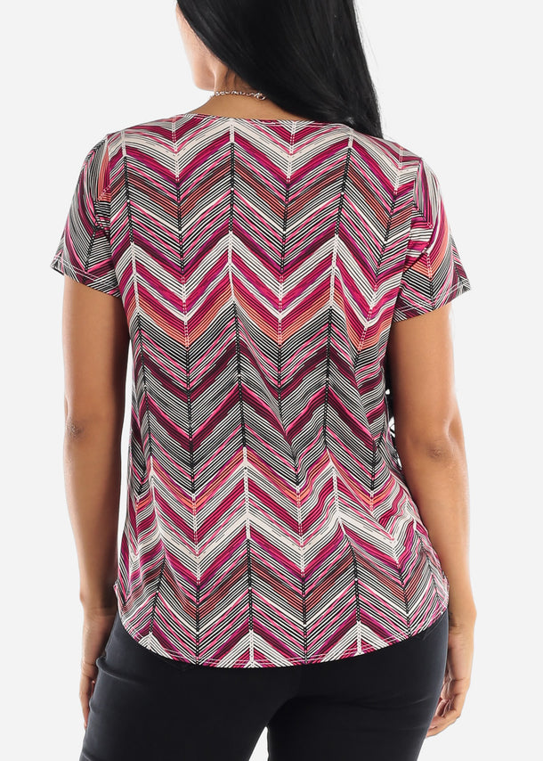 Zig Zag Printed Pink Blouse