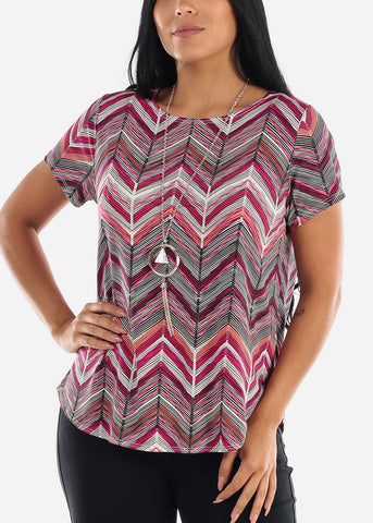 Image of Zig Zag Printed Pink Blouse