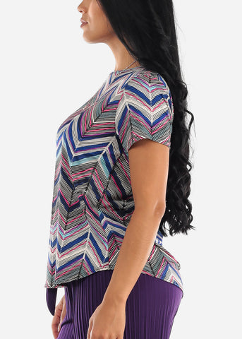 Zig Zag Printed Multicolor Blouse
