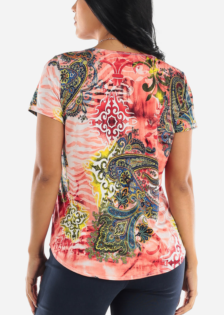 Printed Coral Blouse W Necklace