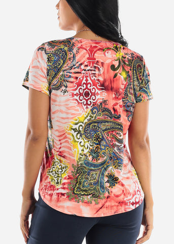 Image of Printed Coral Blouse W Necklace