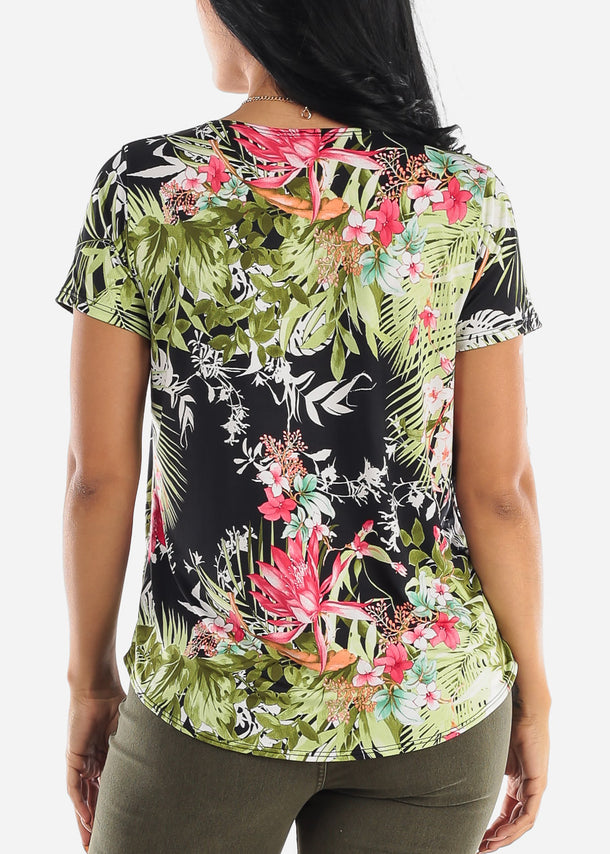 Black Floral Blouse W Necklace