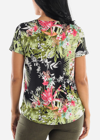 Image of Black Floral Blouse W Necklace