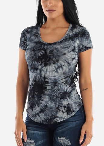 Image of Black Tie Dye Short Sleeve Top