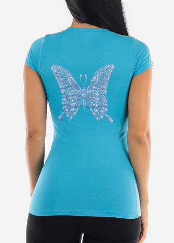 "Turquoise Graphic T-Shirt ""Butterfly"""