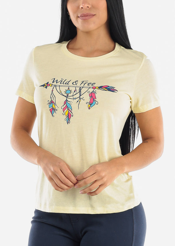 "Yellow Graphic T-Shirt ""Wild & Free"""