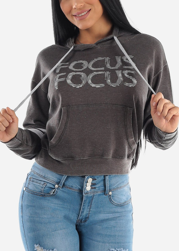 "Charcoal Graphic Hoodie ""Focus"""
