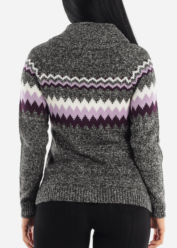 Cozy Warm Zip Up Printed Knit Sweater