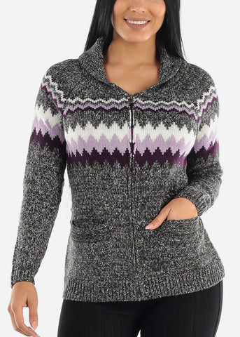 Image of Cozy Warm Zip Up Printed Knit Sweater