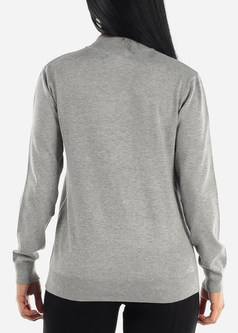 Plain Casual Grey Slip On Women Sweater