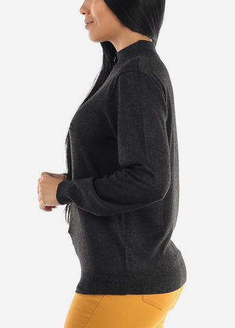 Plain Casual Charcoal Slip On Women Sweater