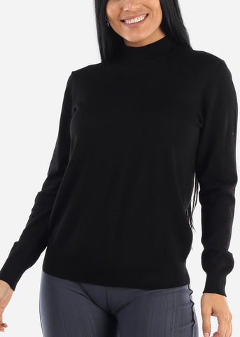 Plain Casual Black Slip On Women Sweater