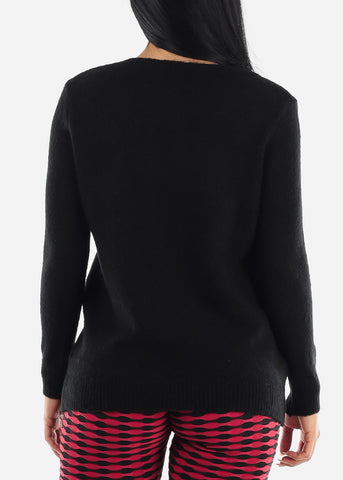 Black Long Sleeve Knit Sweater