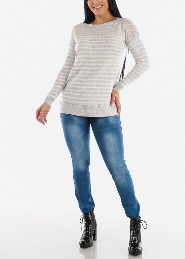 Cozy Warm Grey Striped Sweater