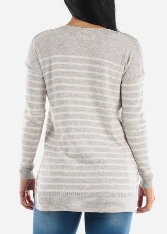 Image of Cozy Warm Grey Striped Sweater