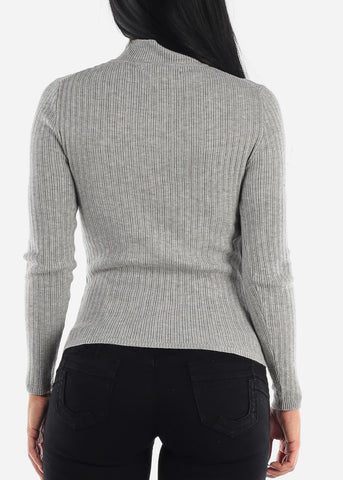 Grey Longsleeve Mock Neck Sweater