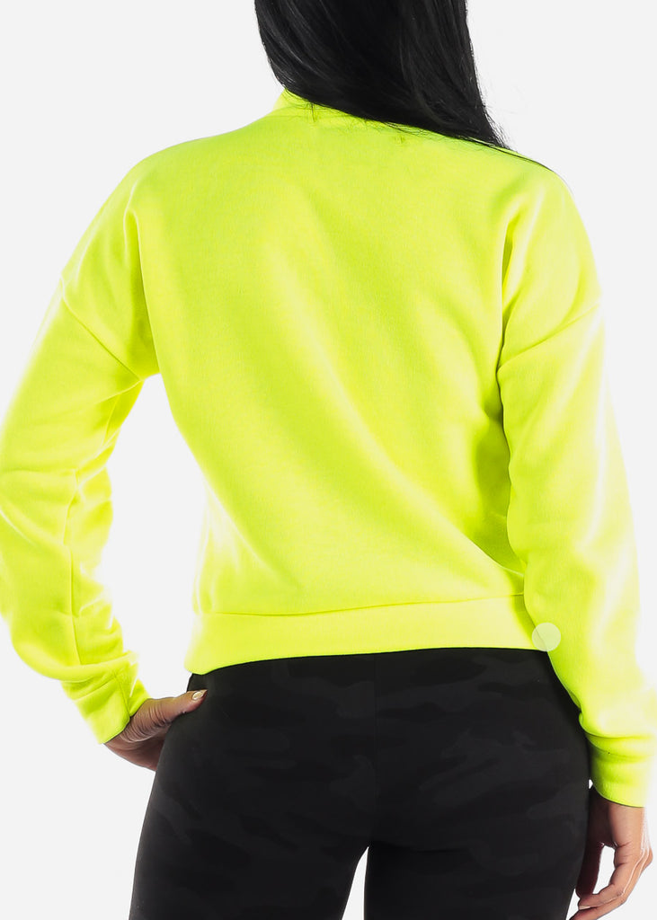 Half Zip Up Neon Yellow Fleece Pullover