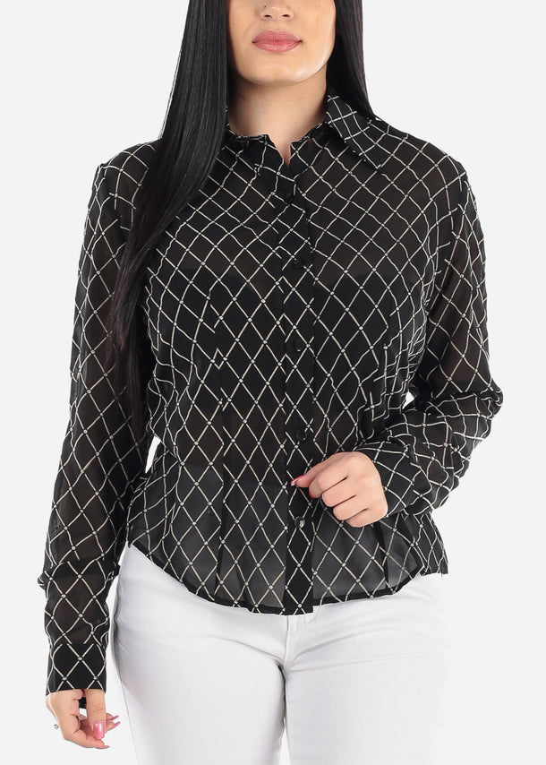 Sheer Black Windowpane Blouse