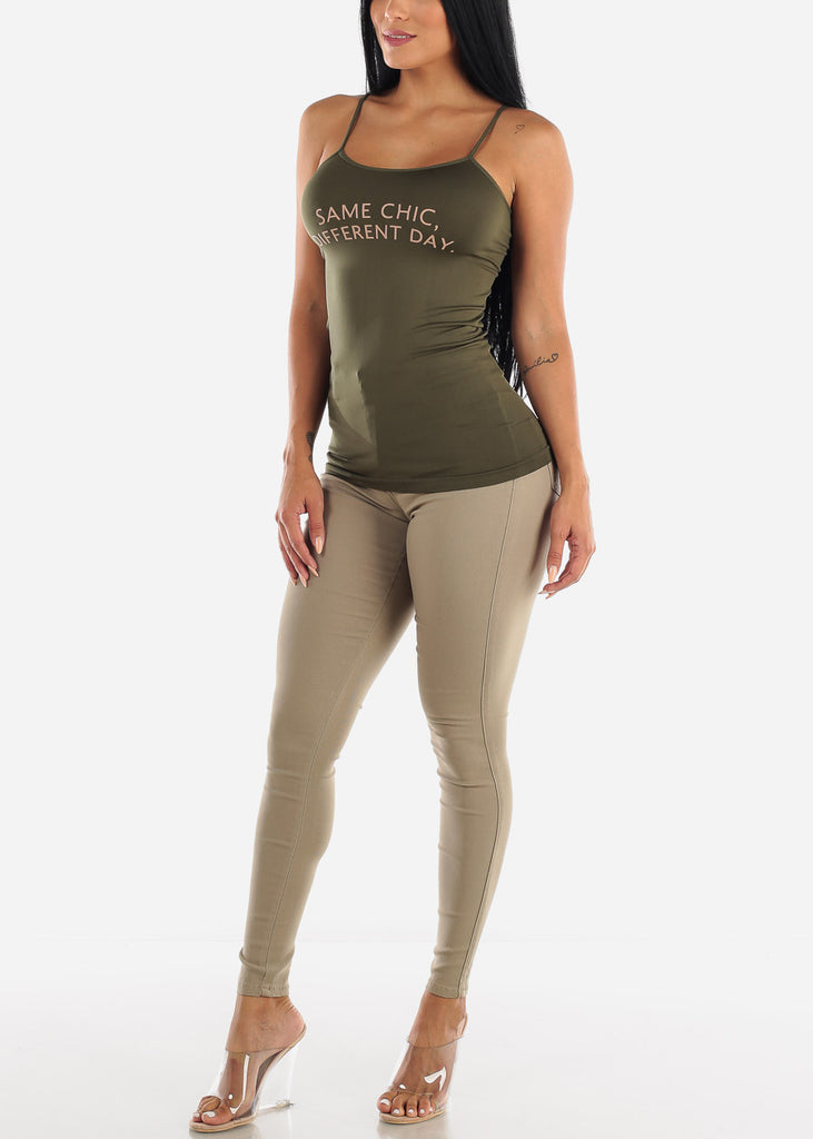 "Olive Graphic Top ""Same Chic"""