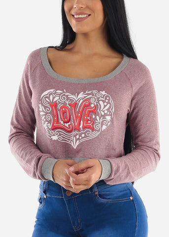 "Image of Pink Graphic Cropped Pullover ""Love"""
