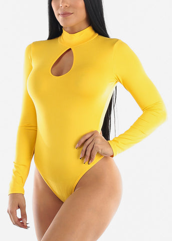 Image of Keyhole Neckline Yellow Bodysuit
