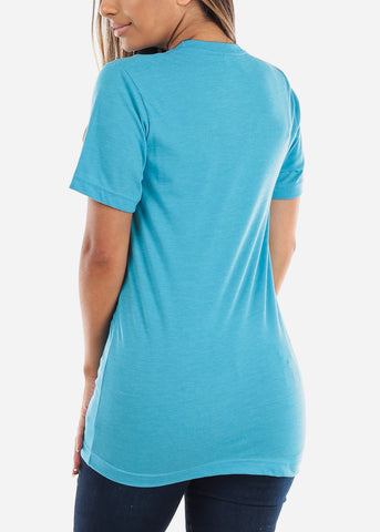 Image of Crew Neck Basic Aqua Tee