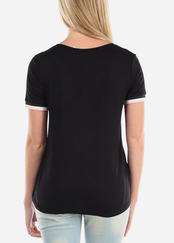 Women's Junior Ladies Casual Cute Short Sleeve Keep It Simple Graphic Print Black Top