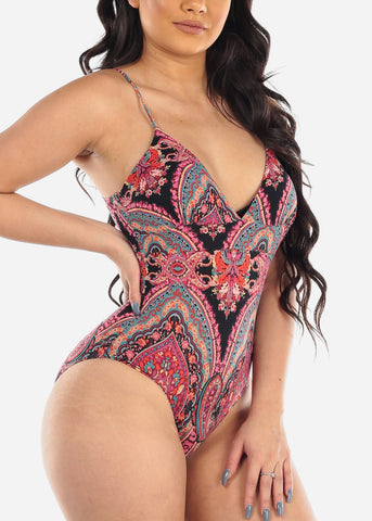 Women's Junior Stylish Must Have Going Out Casual Super Sexy Cute Stretchy Floral Print Multicolor Bodysuit