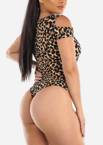 Cold Shoulder Animal Print Thong Bodysuit