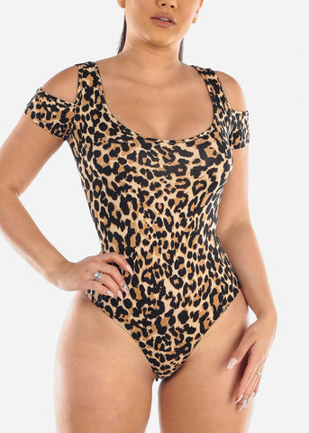 Image of Sexy Cold Shoulder Animal Print Stretchy Bodysuit For Women Ladies Junior Night Out