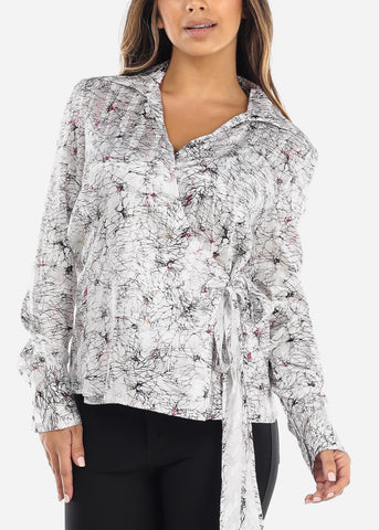 Image of White Wrap Front Crinkled Blouse
