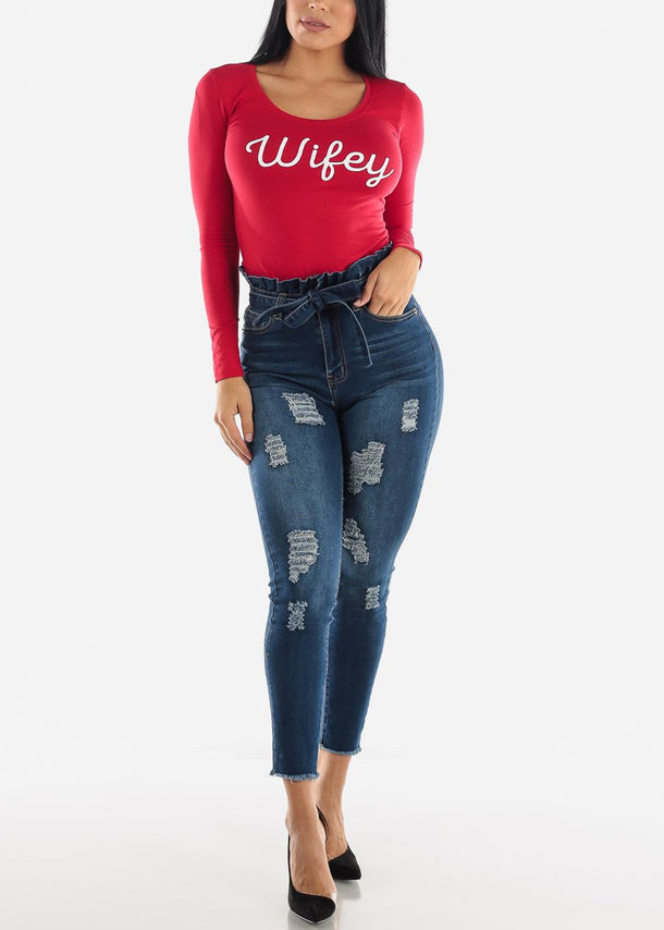 Long Sleeve Red Graphic Top