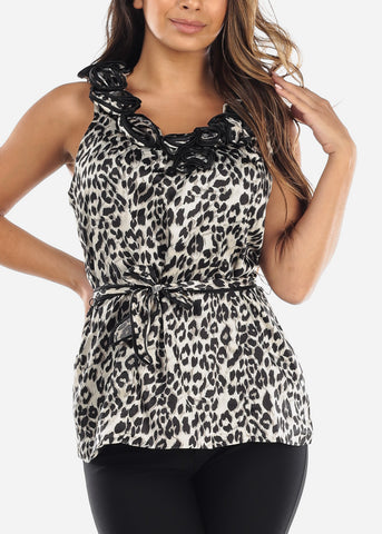 Animal Print Flower Neckline Blouse
