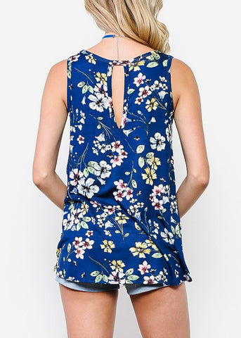 Image of Keyhole Neckline Floral Navy Top