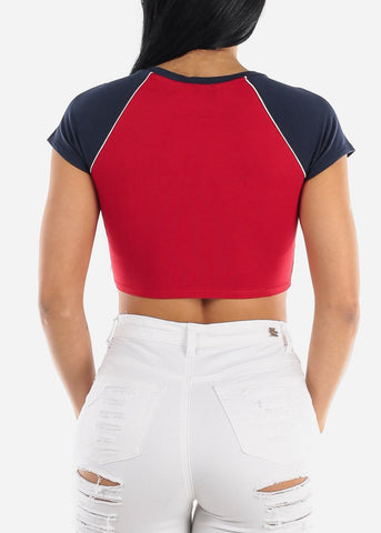 "Red Graphic Crop Top ""Friends Forever"""