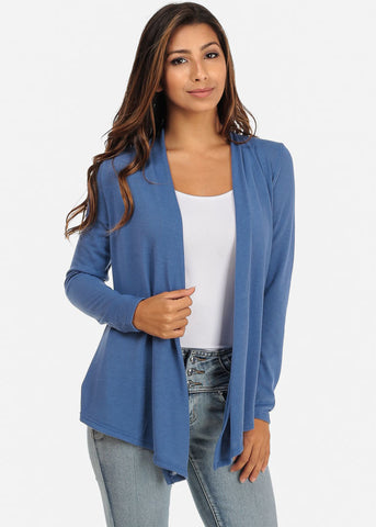 Long Sleeve Open-Front Cardigan (Blue)