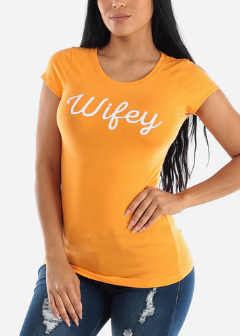 "Image of Orange Graphic T-Shirt ""Wifey"""