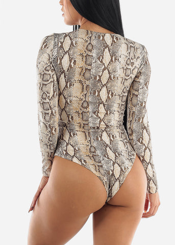High Neck Snake Print Bodysuit