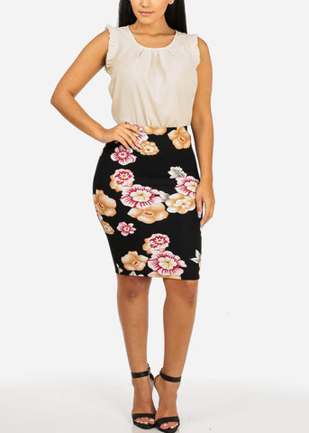 Image of Floral Black and Pink Skirt