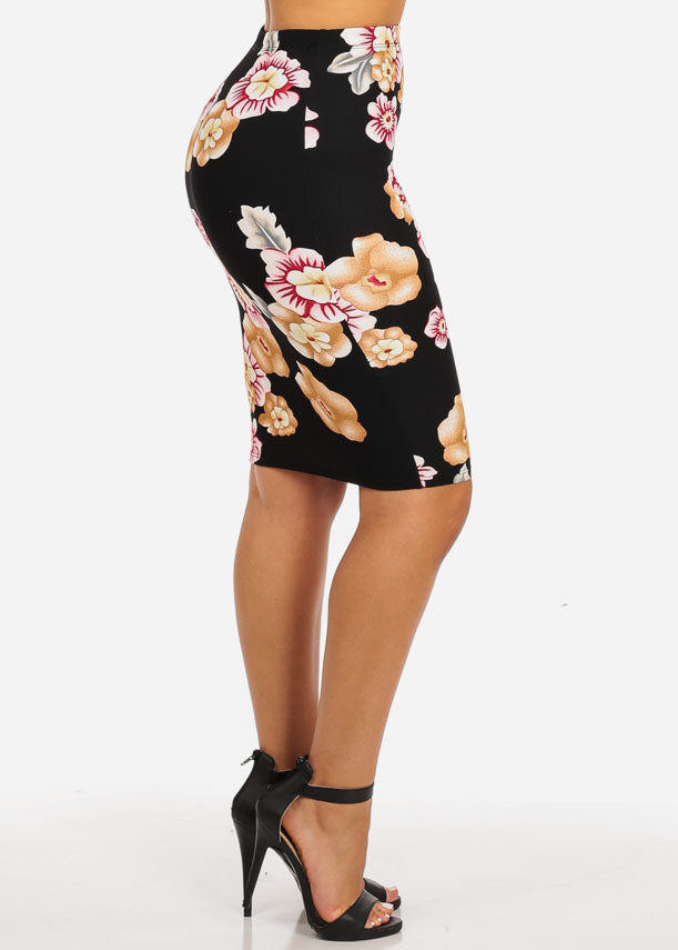 Floral Black and Pink Skirt