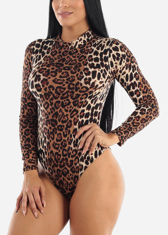 High Neck Animal Print Bodysuit