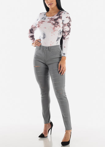 Long Sleeve White Printed Bodysuit