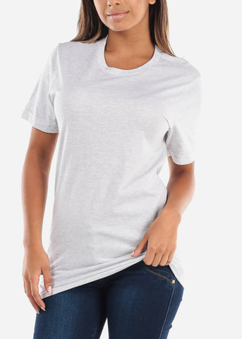 Image of Crew Neck Basic Ash Jersey Tee