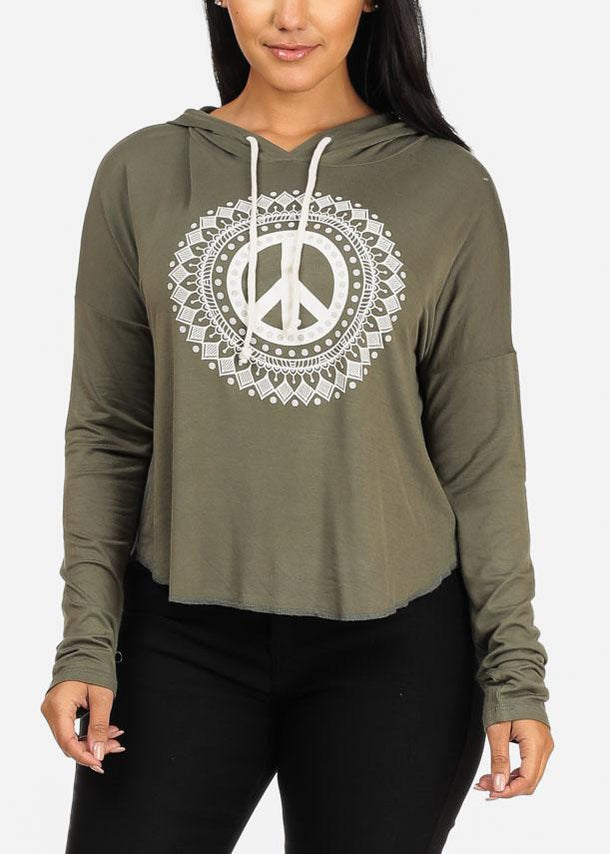 Affordable Peace Graphic Sweatshirt W Hood