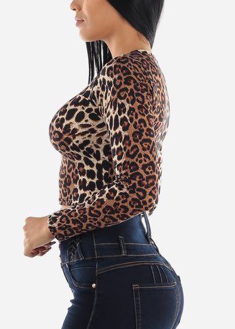 Long Sleeve Animal Print Crop Top