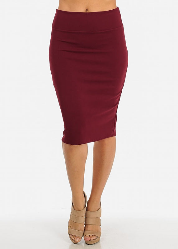 Stretchy High Waist Pencil Skirt (Burgundy)